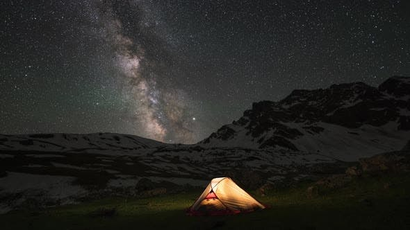 Thumbnail for Time-lapse of Milky Way and a Tent in Mountains