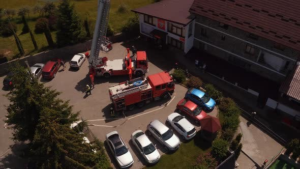 Aerial view of fire trucks at fire drill