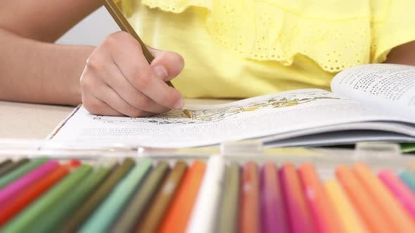 A Girl Paints a Coloring Book. Close-up of a Little Girl's Hand Holding a Pencil and Drawing.