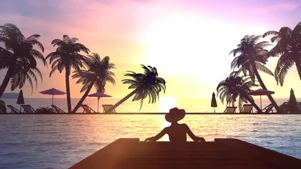 Woman In A Hat At The Resort 4K