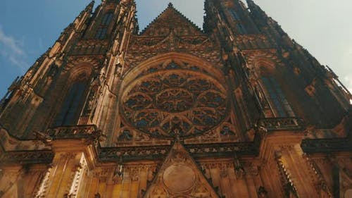 Approaching the St Vitus Cathedral on a Sunny Day in Prague, Czech Republic (Czechia)