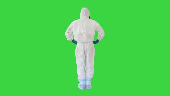 Thumbnail for Man in a White Decontamination Suit Putting Hand on His Head Bad Situation on a Green Screen, Chroma