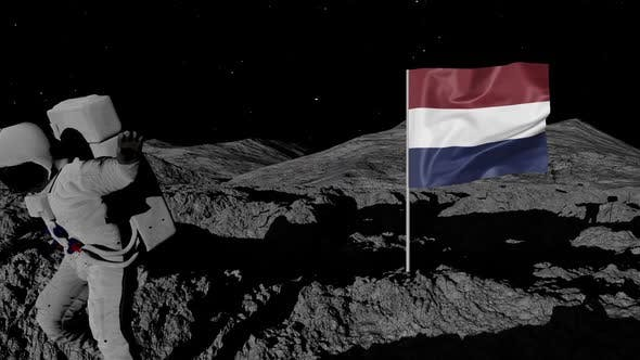 Thumbnail for Astronaut Planting Netherlands Flag on the Moon