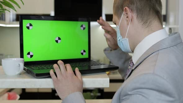 Thumbnail for Quarantine. Businessman Working on Laptop at Home Office. Coronavirus. Covid-19