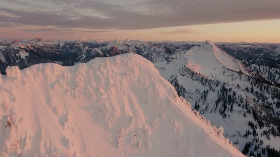 Thumbnail for Aerial View Mount Bullion Liberty Peak Cascade Mountains Sunset Orange Glow Winter Day