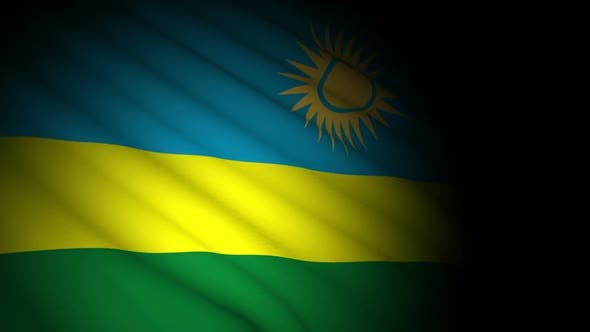 Rwanda Flag Blowing in Wind