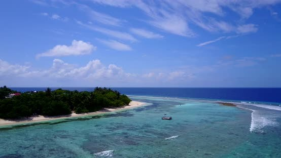 Thumbnail for Tropical fly over travel shot of a summer white paradise sand beach and aqua turquoise water backgro