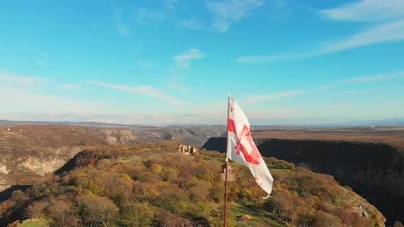 Old Georgian Flag On Pole On Samshvilde Fortress.Long