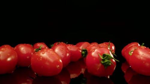 Juicy red cocktail tomatoes super macro
