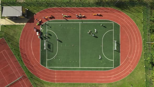 Flight Over the Football Field Top View