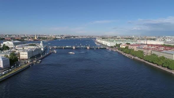 Thumbnail for Flight Over Neva River in St. Petersburg City