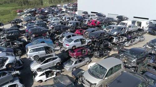 Vehicles Piled Up at Scrap Yard