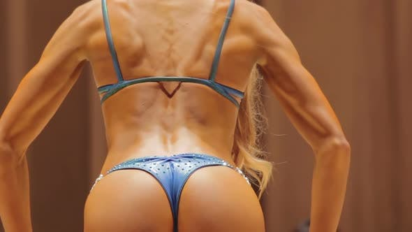 Thumbnail for Muscular Back and Sexy Buttocks of Fitness Model in Rear Pose, Bikini Show