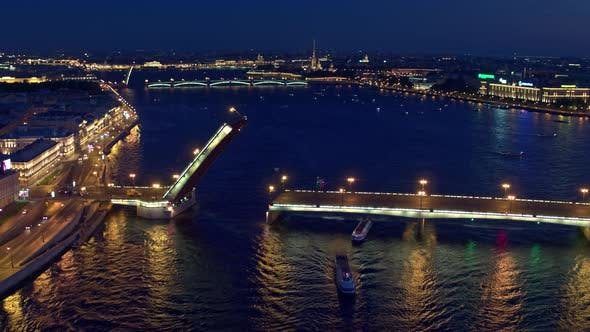 Thumbnail for Night Flight Overlooking The Neva River And Bridges Bred