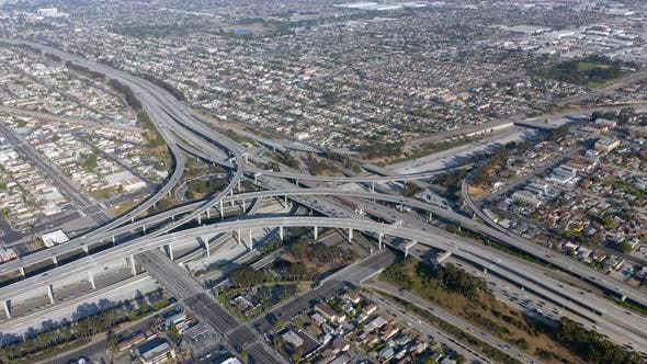 Thumbnail for . Drone Footage. Complex Scenic Los Angeles Highway Junction. Bird-eye View.