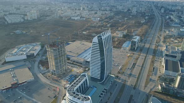 Aerial Landscape of Sofia. Construction of New Modern Buildings in Bulgaria