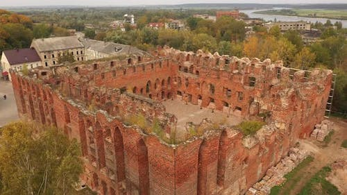 The old abandoned Ragnit Castle ruins in Neman town