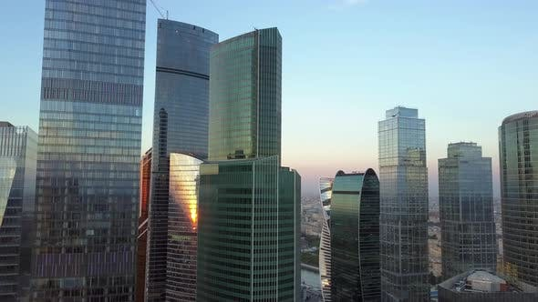Thumbnail for City Business Centre with Skyscrapers Aerial Shot