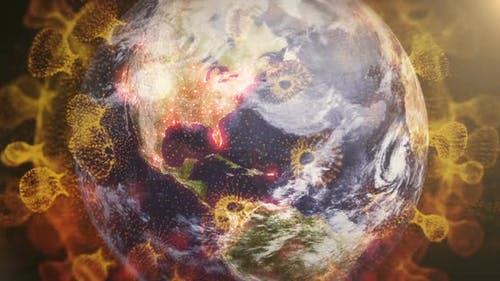Corona Virus Microbe And Earth Spinning With Particles Background