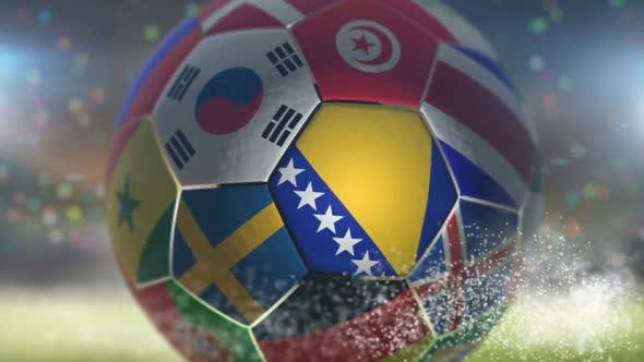 Thumbnail for Bosnia And Herzegovina Flag on a Soccer Ball - Football in Stadium