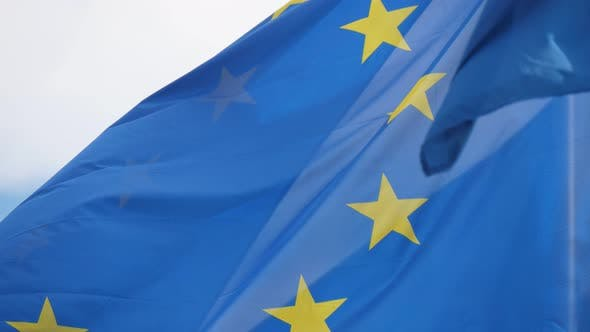 Thumbnail for European Union Standard Fluttering Proudly on a Flagpole in Brussels in Spring