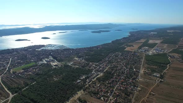 View from above of dalmatian town, Croatia