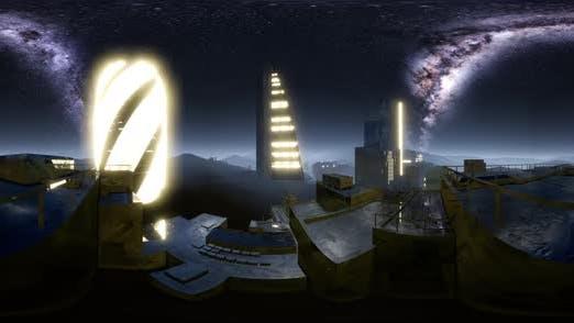 Thumbnail for Stadt Skyline bei Nacht unter einem Sternenhimmel VR360