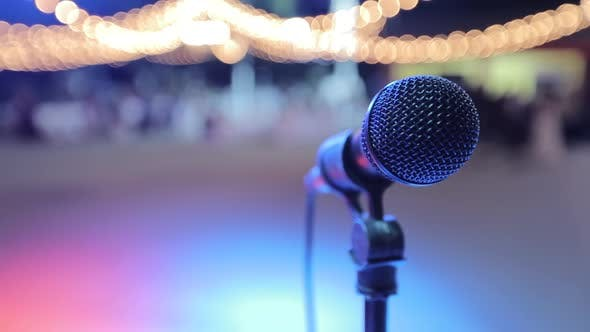 Thumbnail for Microphone on Stage with Background Out of Focus
