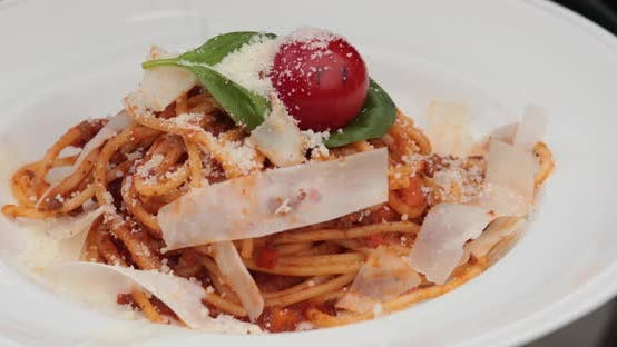 Thumbnail for Tasty Carbonara with Baconl, Tomato and Parmesan