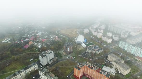 Aerial View Of Grey Cloudy Sky Over The City Of Lutsk In Ukraine, Autumn.