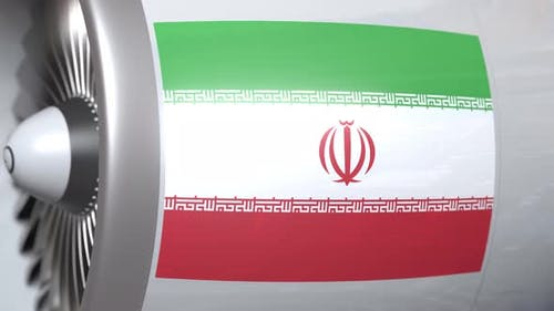 Airplane Engine with Flag of Iran