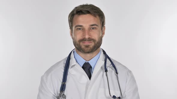 Thumbnail for Tired Doctor Looking at Camera in Studio on White Background