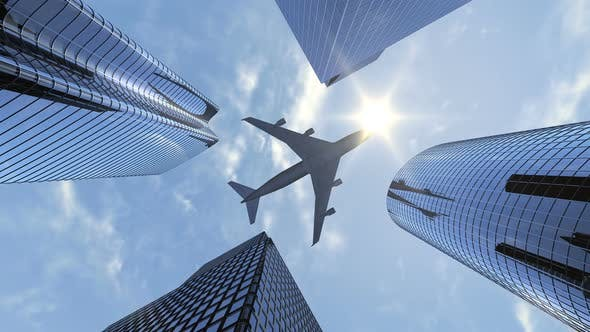 Thumbnail for Large Airplane Flying Over 4 Skyscrapers