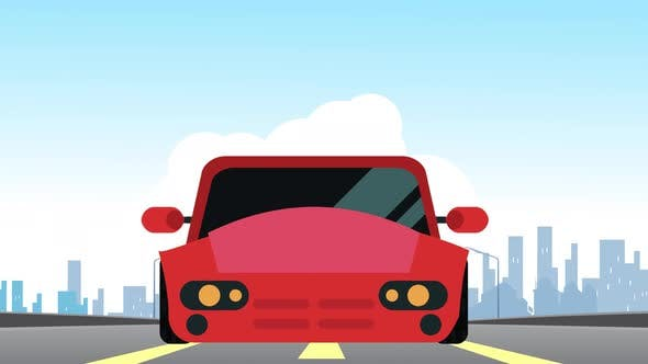 Driving car animation with front view, Running on highway.