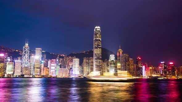 Thumbnail for Victoria Harbor in Hong Kong city at night