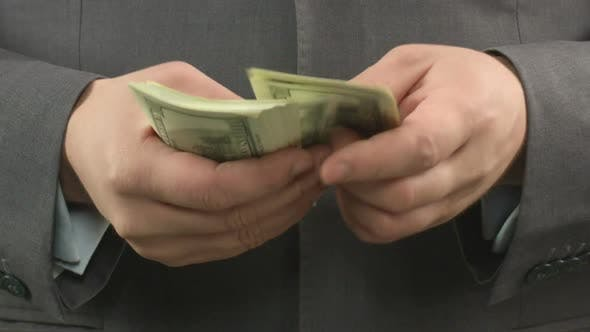 Thumbnail for Dishonest Businessman Counting Money, Corruption and Bribe, Close-Up Video