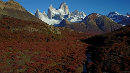 View of Mount Fitz Roy From the Air Autumn Dawn Patagonia Argentina