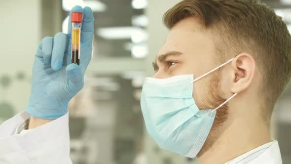 Thumbnail for An Experienced Laboratory Assistant Carefully Examines a Test Tube with Blood
