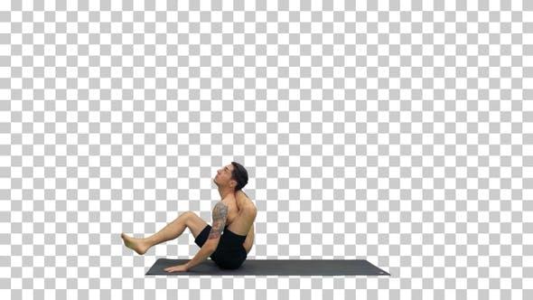 Thumbnail for Yoga Dwi Pada Sirsasana feet behind the head pose, Alpha Channel