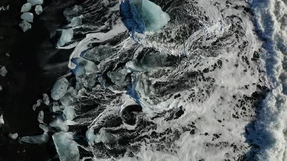 Thumbnail for Ice Rock with Black Sand Beach at Jokulsarlon Beach, Diamond Beach in Iceland