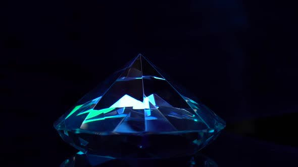 Thumbnail for Dear Diamond Is Spinning and Shimmering Blue Highlights. Black Background