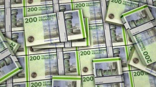 Dänische Kronen-Geld-Banknoten packt Oberfläche