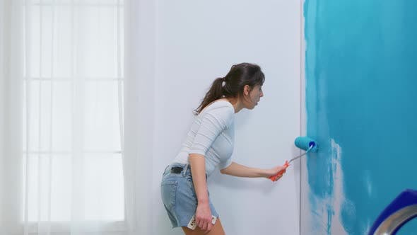 Woman Decorates Her Home