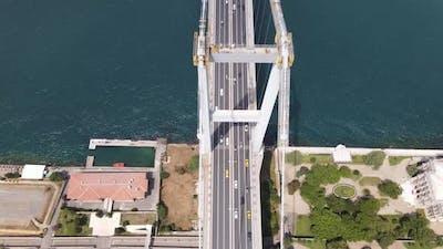 Aerial Drone Istanbul Bridge