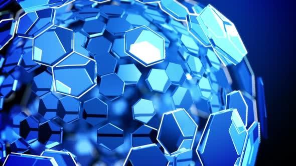 Hexagon Glass Tech Background