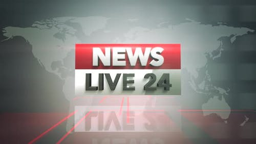 News Live 24 and news intro graphic with lines and world map in studio