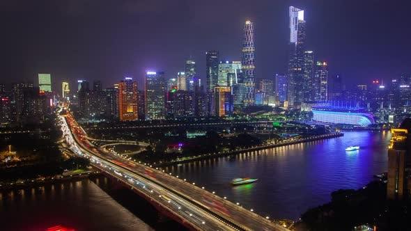 Thumbnail for Guangzhou Stadtbild China mit Booten Verkehr und Brücken