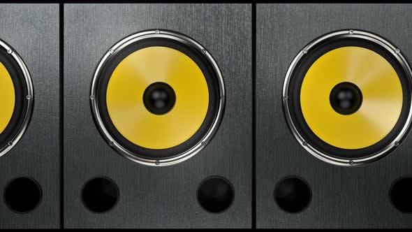 Camera Showing Audio Speakers Playing Modern Rhythmic Music at 90 bpm