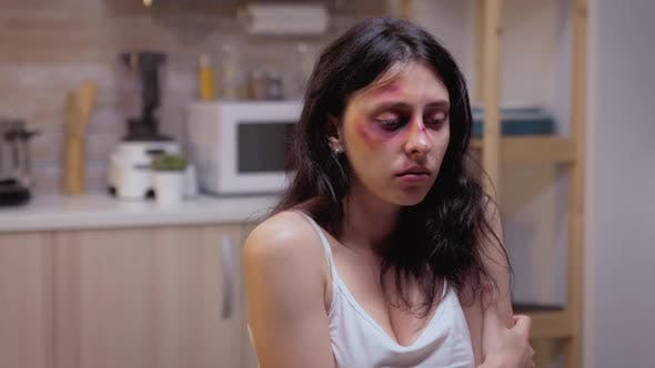 Beaten Woman Pushed By Violent Husband