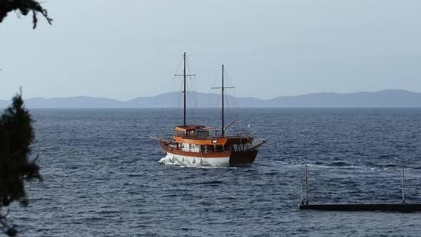 Cruise ship at the Mediterranean Sea around Neo Marmaras